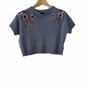 Massimo Dutti Cropped Floral Embroidered Sweater